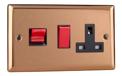 Varilight XY45PB.CU Urban Polished Copper 45A DP Cooker Switch + 13A Switched Socket